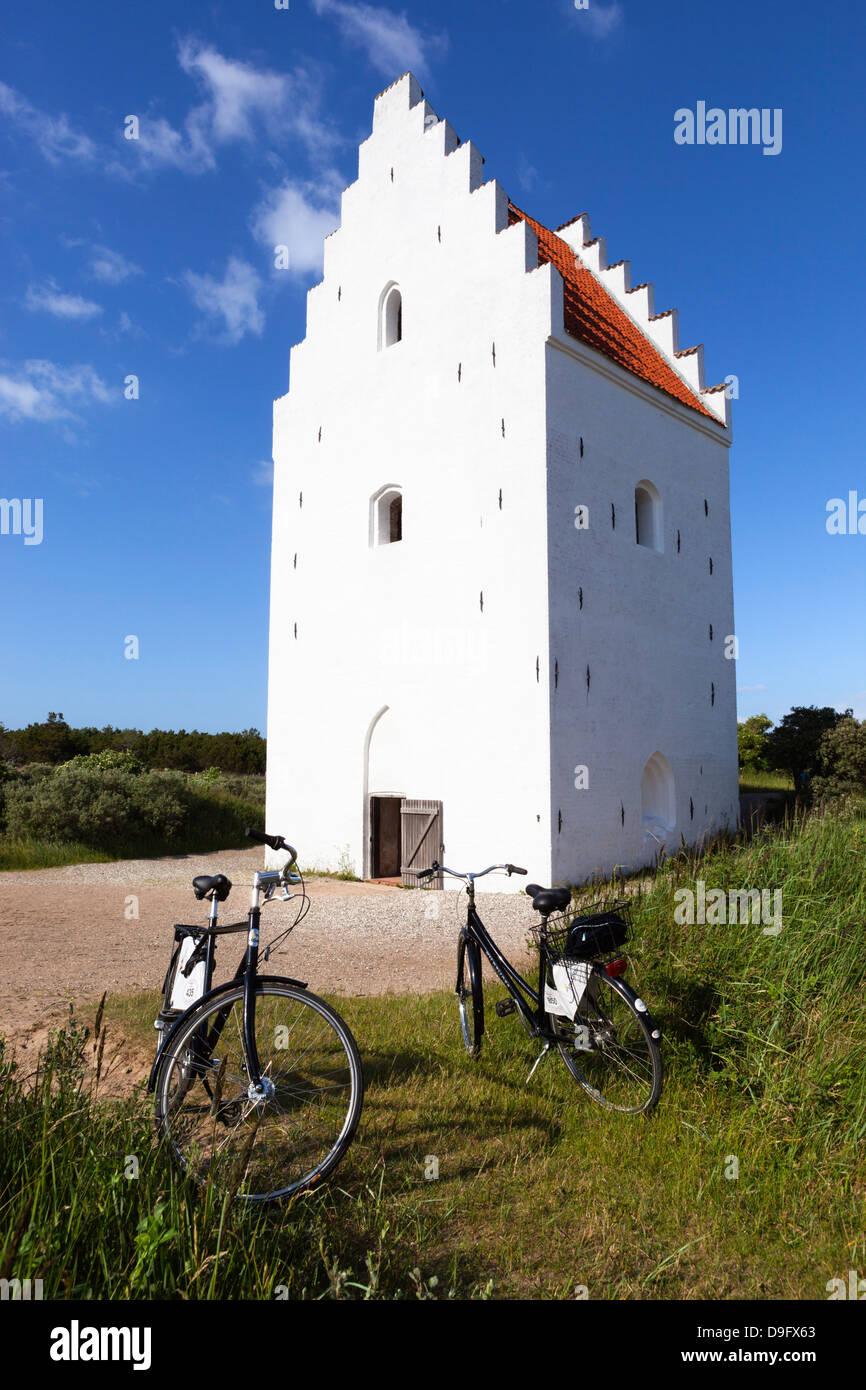 Tower of Den Tilsandede Kirke (Buried Church) buried by sand drifts, Skagen, Jutland, Denmark - Stock Image