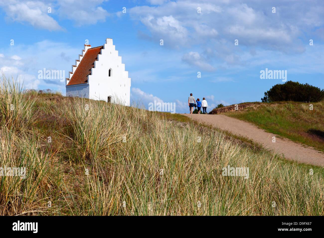 Tower of Den Tilsandede Kirke (Buried Church) buried by sand drifts, Skagen, Jutland, Denmark, Scandinavia - Stock Image