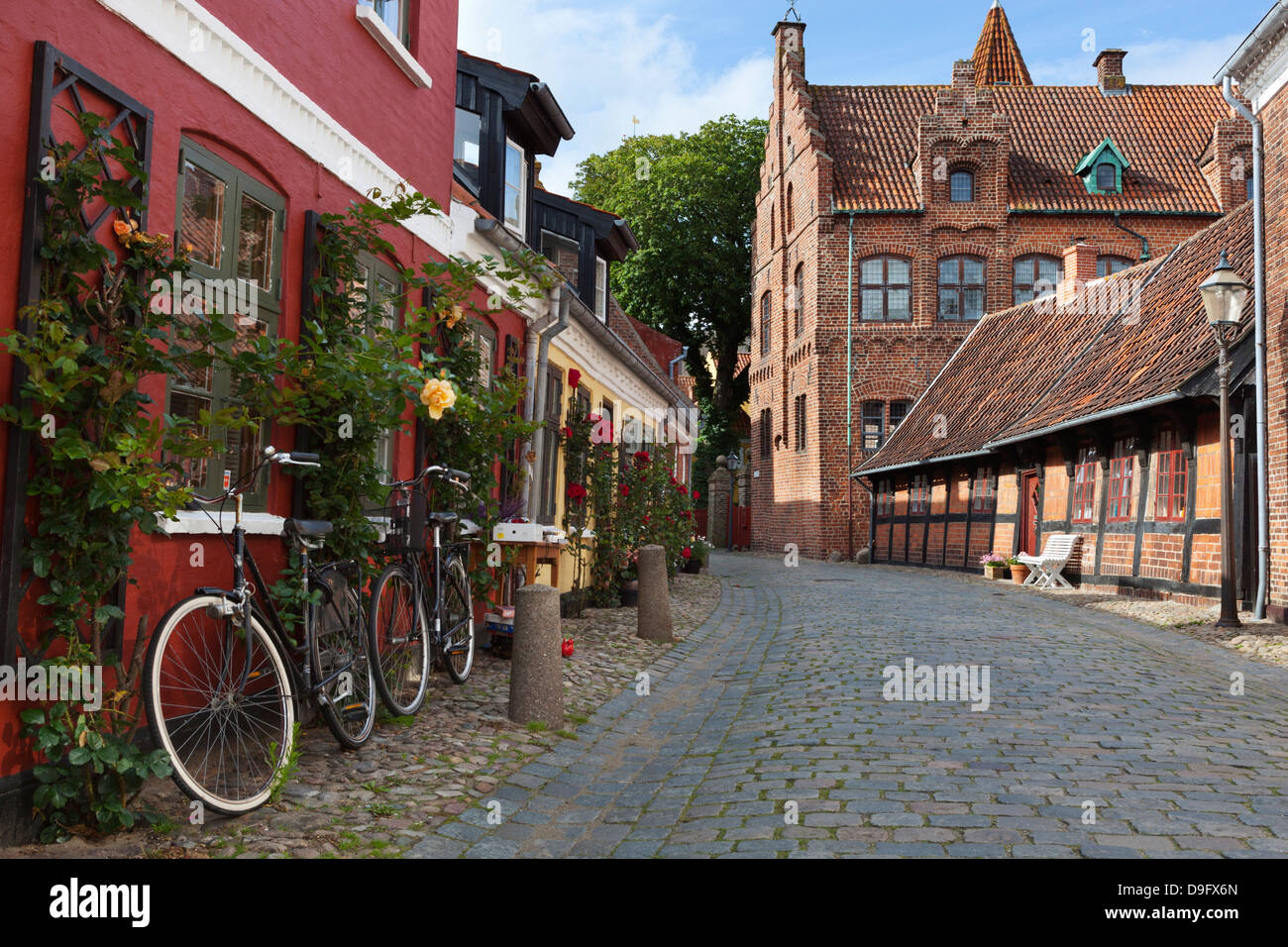Cobblestone alley in the old town, Ribe, Jutland, Denmark, Scandinavia - Stock Image