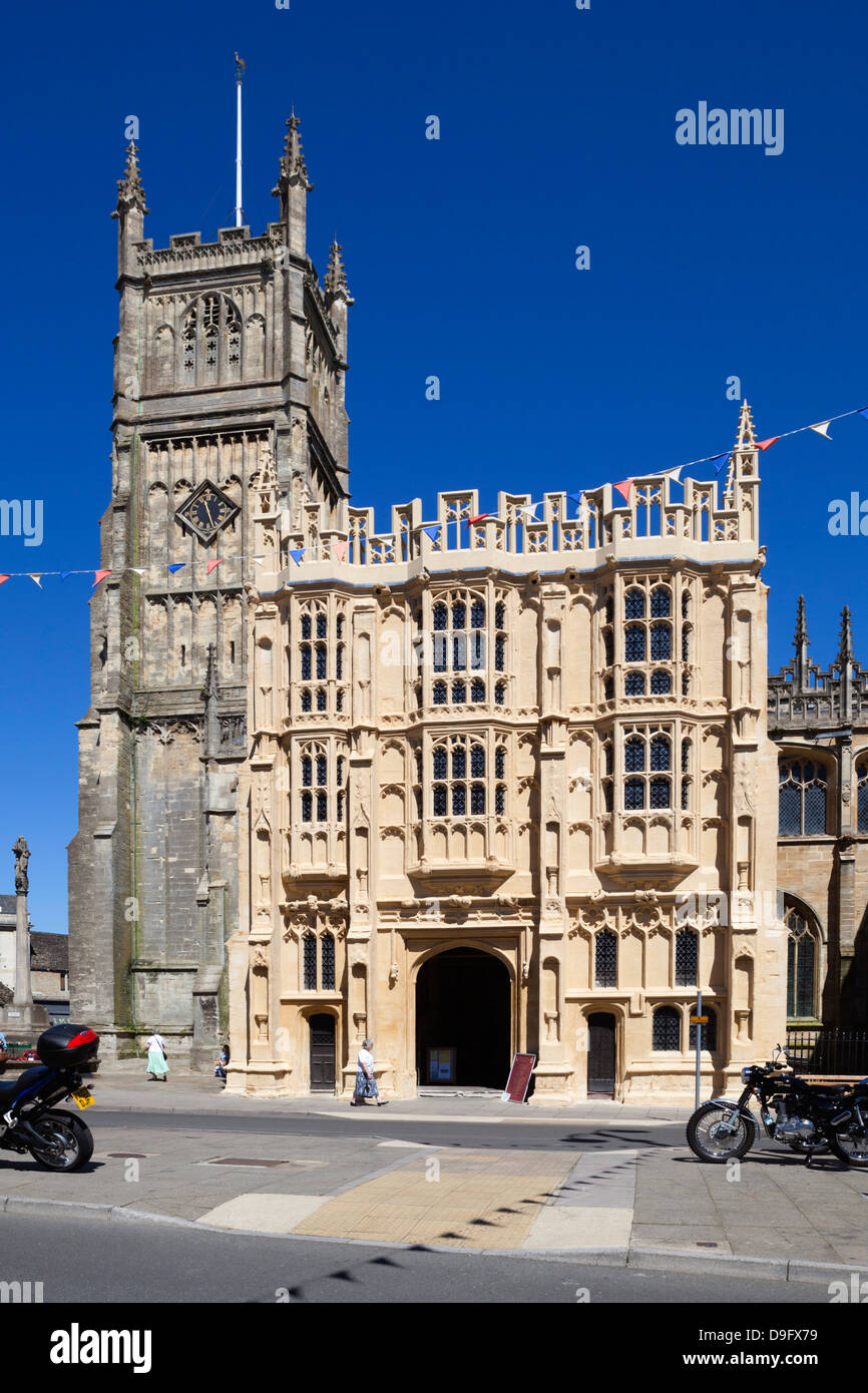 Church of St. John the Baptist and 15th century south porch, Cirencester, Gloucestershire, England, UK Stock Photo