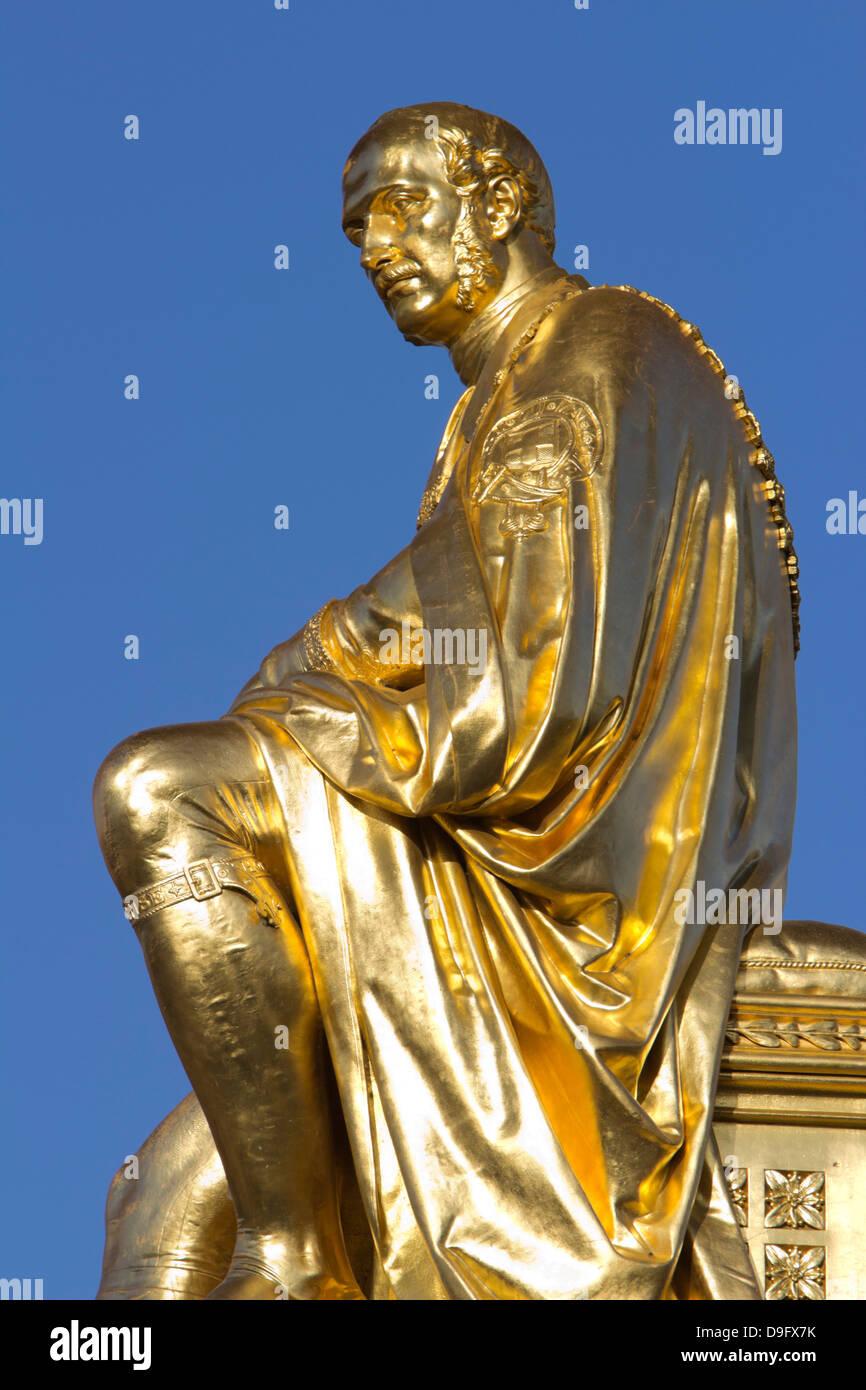 Gilded statue of Prince Albert, The Albert Memorial, Kensington Gardens, London, England, UK - Stock Image