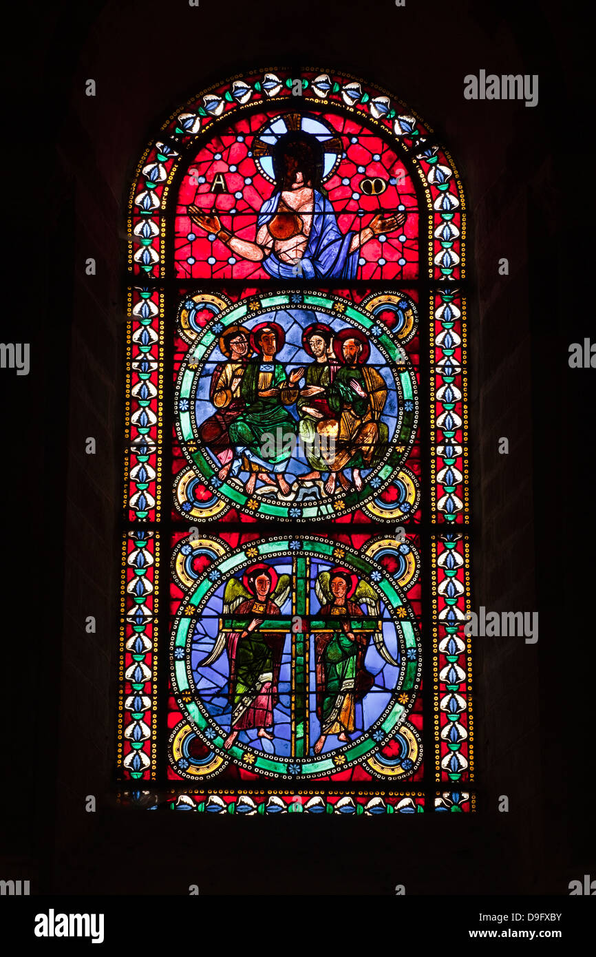 A 12th century stained glass window in the nave of St.-Julien du Mans cathedral, Le Mans, Sarthe, Pays de la Loire, - Stock Image