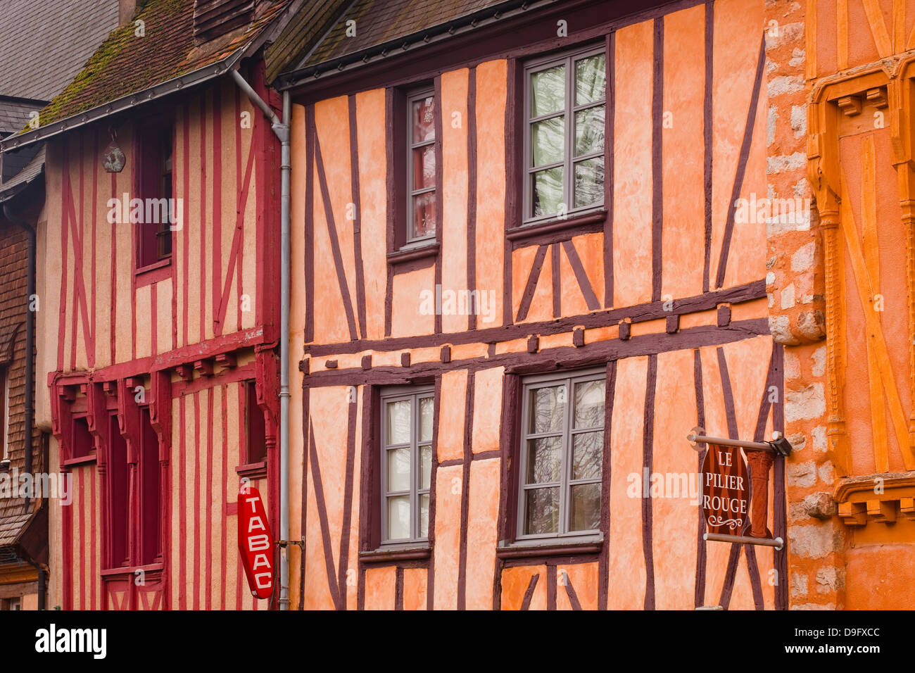 Half timbered houses in the old town of Le Mans, Sarthe, Pays de la Loire, France - Stock Image