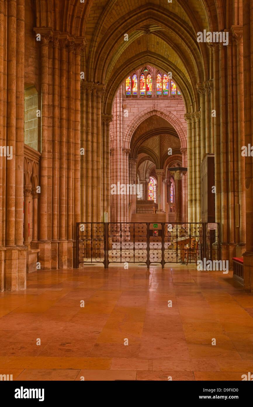 An aisle in Saint Denis basilica in Paris, France - Stock Image