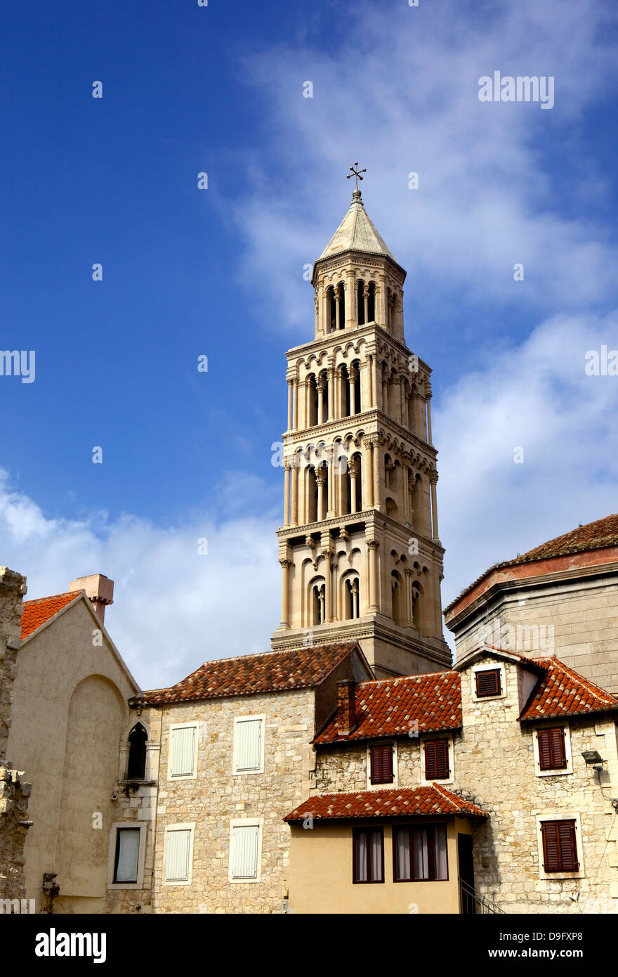 The Campanile (bell tower) of Cathedral of St. Domnius, Split, Dalmatian coast, Croatia - Stock Image