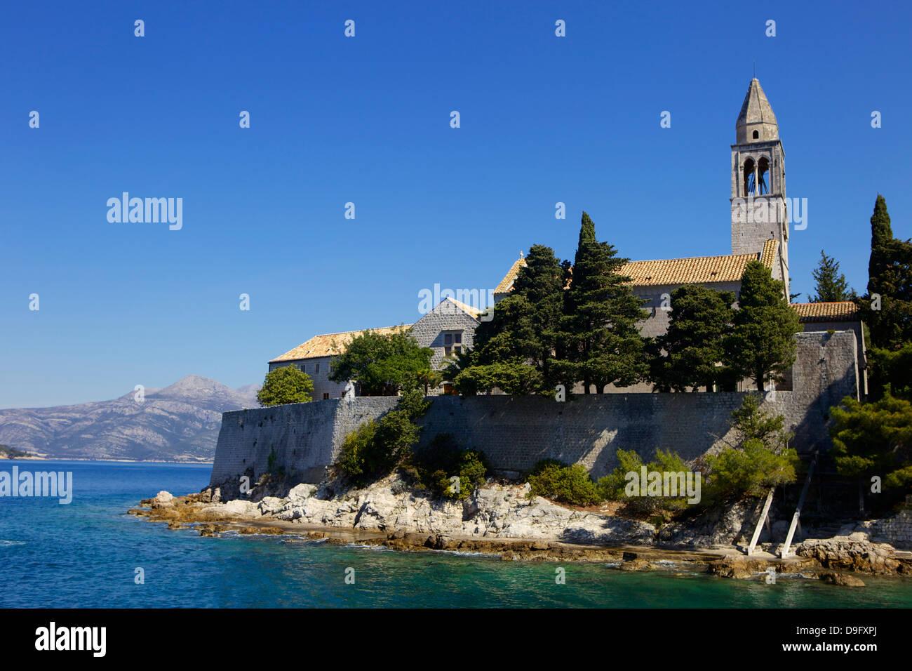 St. Mary's Church and Franciscan Monastery on the island of Lopud, South Dalmatia, Croatia Stock Photo