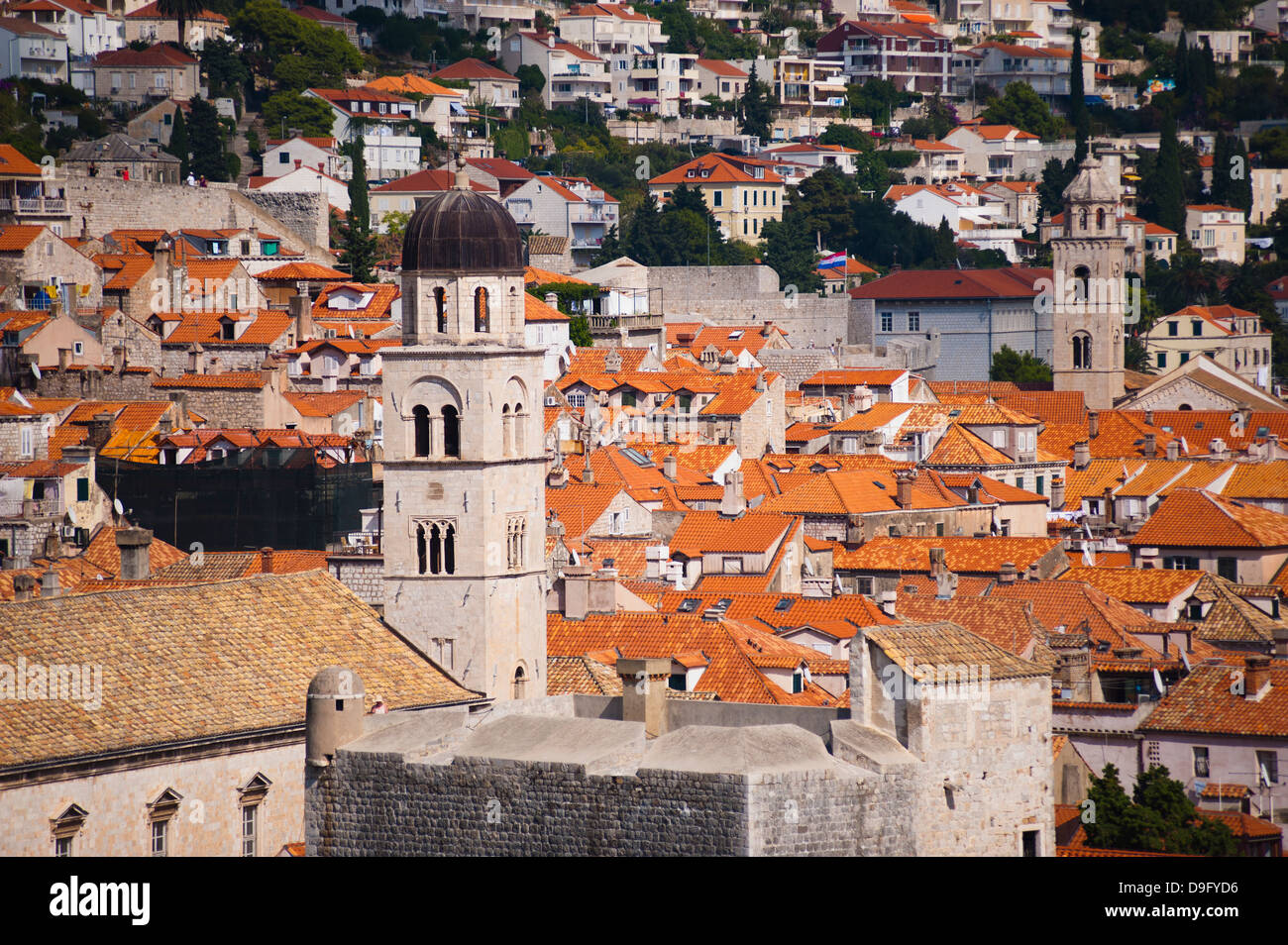 Franciscan Monastery and Dominican Monastery, Old Town, UNESCO World Heritage Site, from Fort Lovrijenac, Dubrovnik, - Stock Image