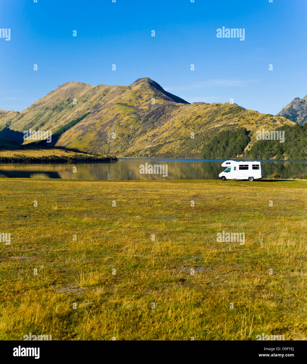 Caravan at Lake Moke Department of Conservation campsite, Queenstown, Otago, South Island, New Zealand - Stock Image