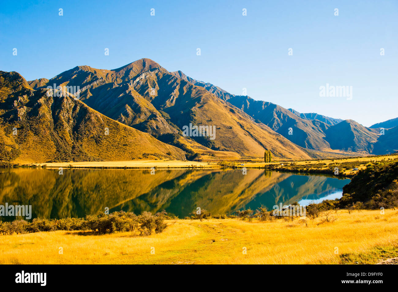 Early morning reflections at Lake Moke, Queenstown, Otago, South Island, New Zealand - Stock Image