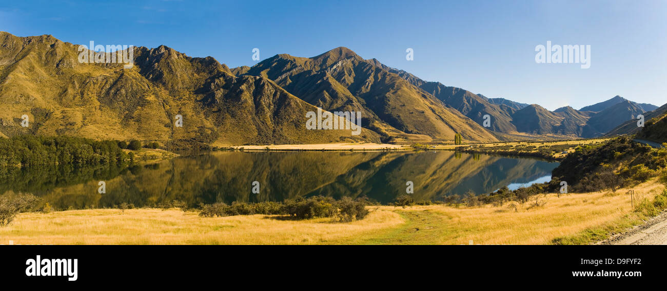Early morning reflections, Lake Moke, Queenstown, Otago, South Island, New Zealand - Stock Image