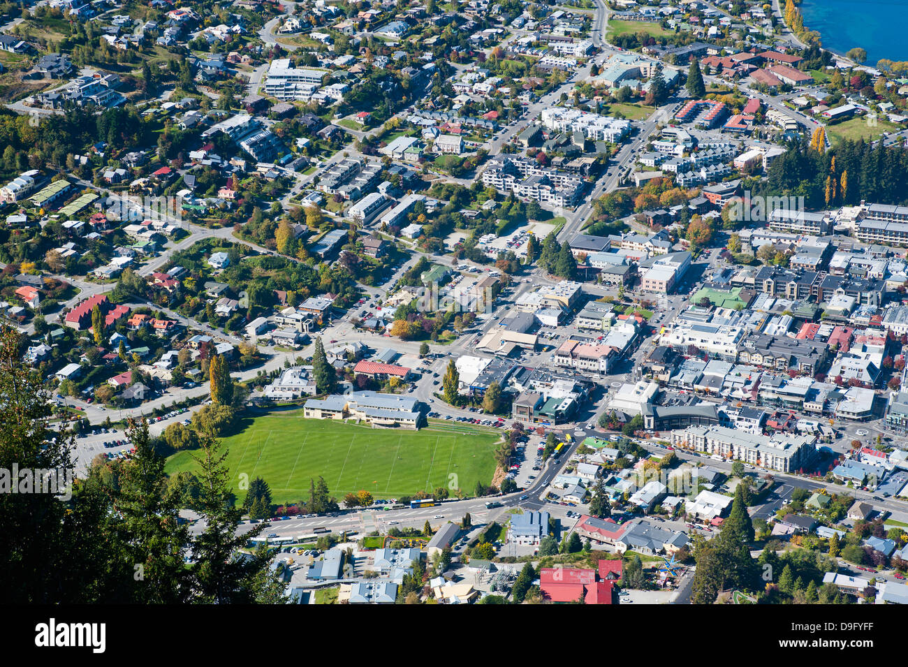 Aerial photo of Queenstown, Otago, South Island, New Zealand - Stock Image