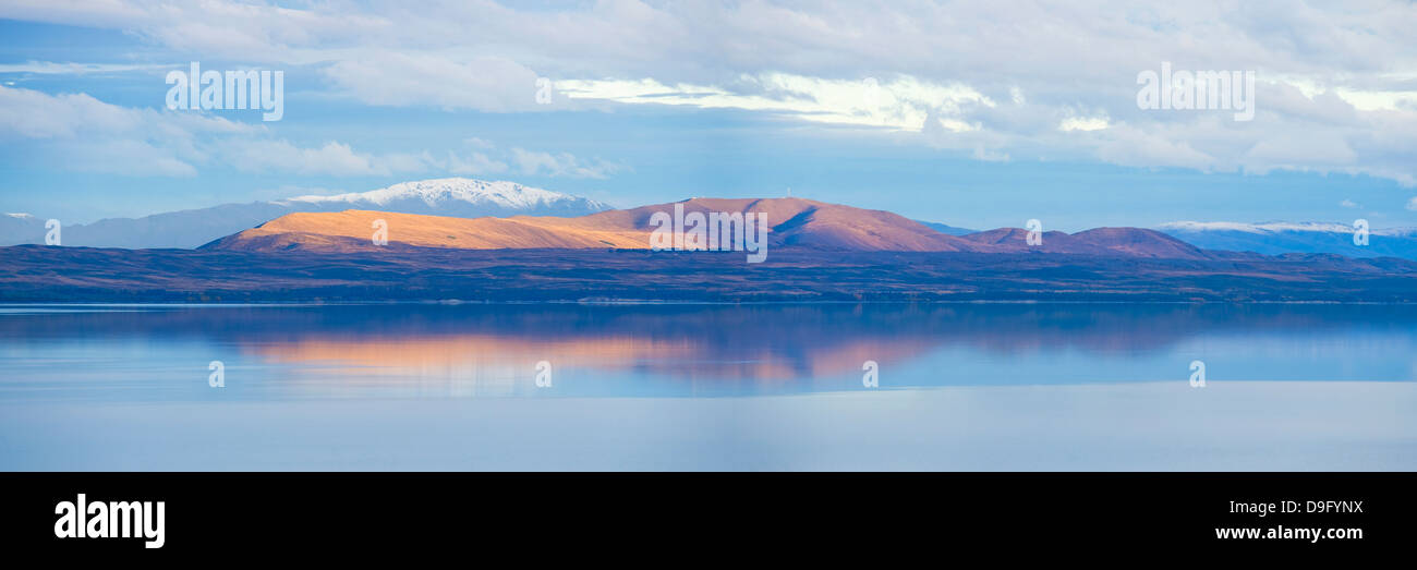 Mountain reflections at sunset, South Island, New Zealand - Stock Image