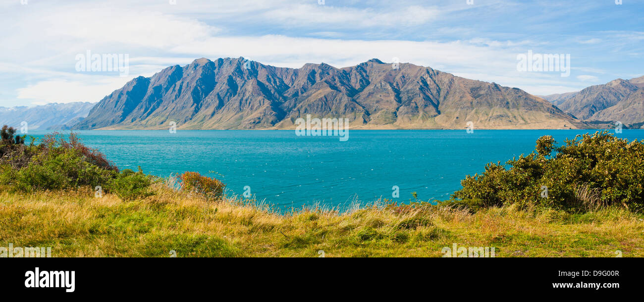Southern Alps Mountain Range and Lake Hawea, West Coast, South Island, New Zealand - Stock Image