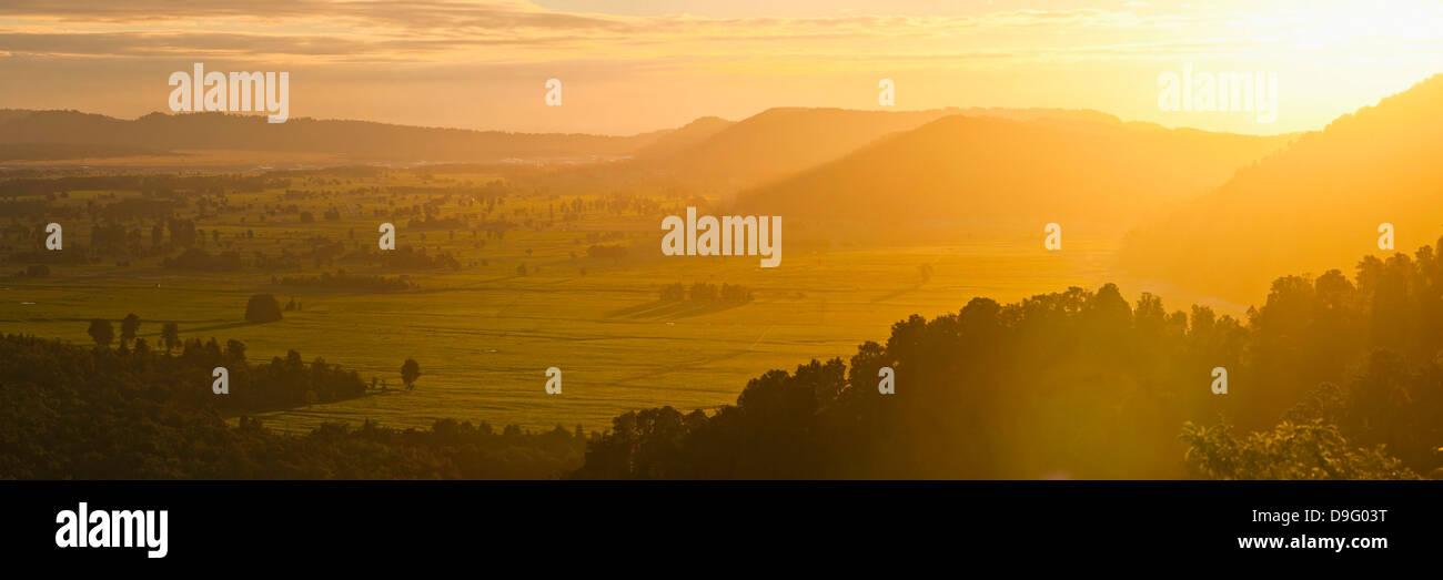 Westland National Park sunset, UNESCO World Heritage Site, West Coast of South Island, New Zealand - Stock Image