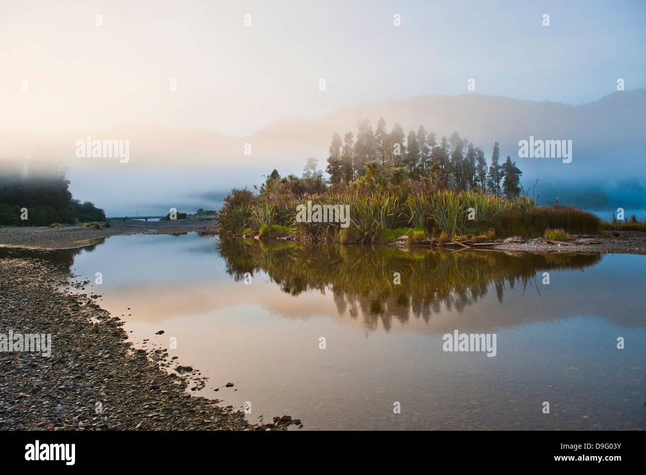 Waitangitanoa River at sunrise, Westland National Park, UNESCO World Heritage Site, South Island, New Zealand - Stock Image