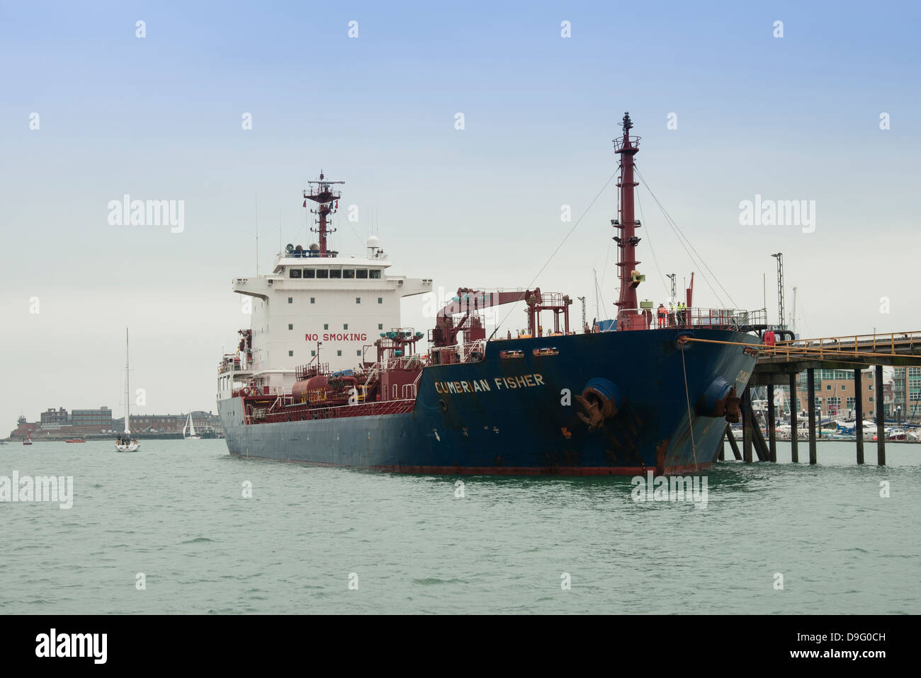 The Cumbrian Fisher oil tanker moored in Portsmouth Harbour, Gosport, UK - Stock Image