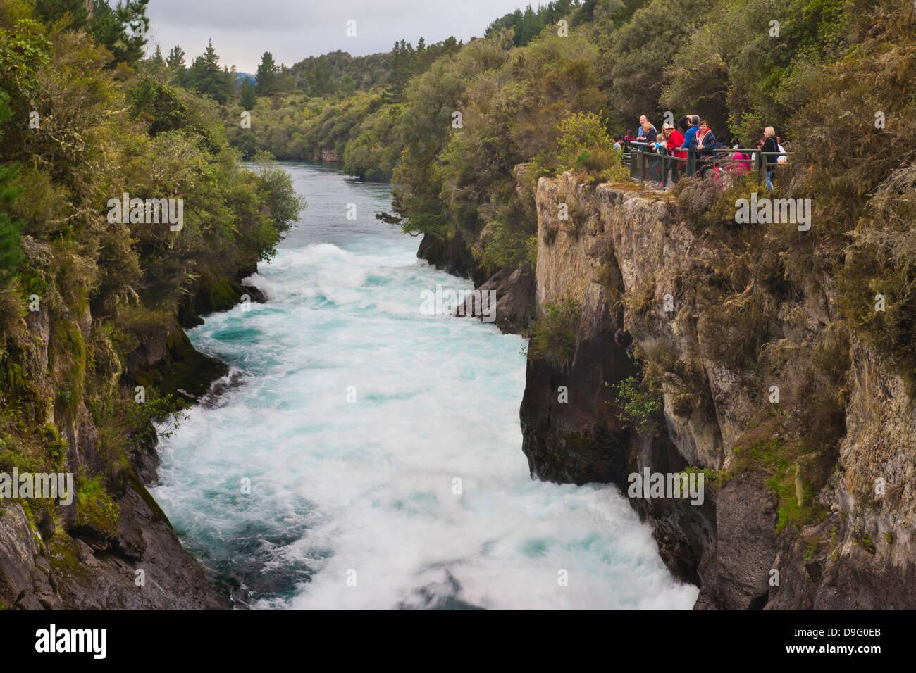Tourists visiting Huka Falls, Taupo, Waikato Region, North Island, New Zealand - Stock Image