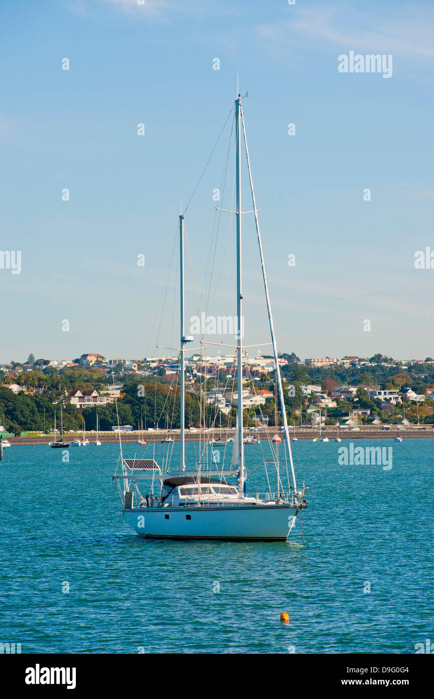 Sailing boat in Waitemata Harbour, Auckland, North Island, New Zealand - Stock Image
