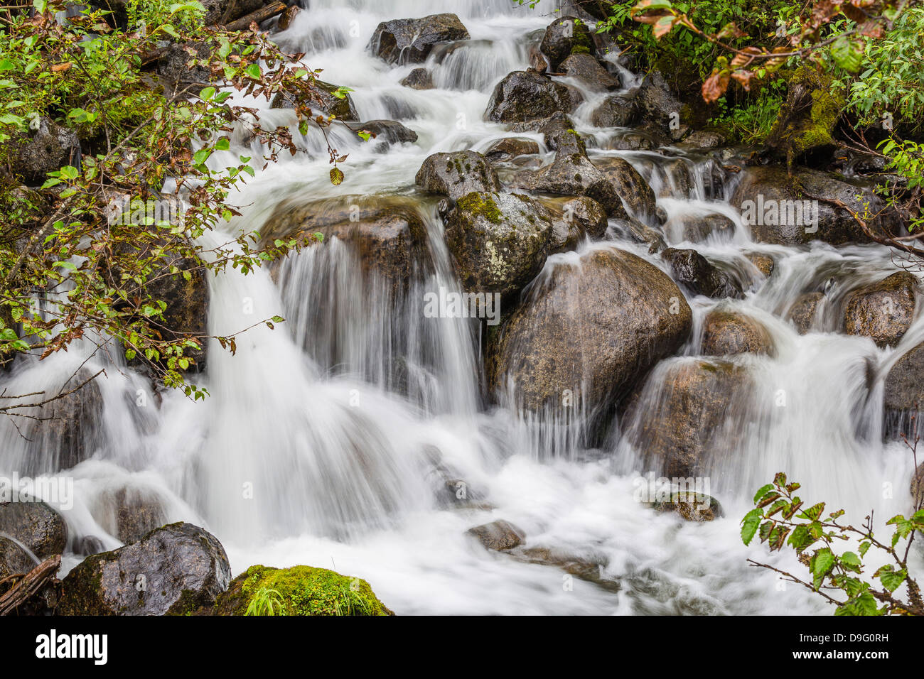Small waterfall near Mendenhall Glacier, Southeast Alaska, USA - Stock Image