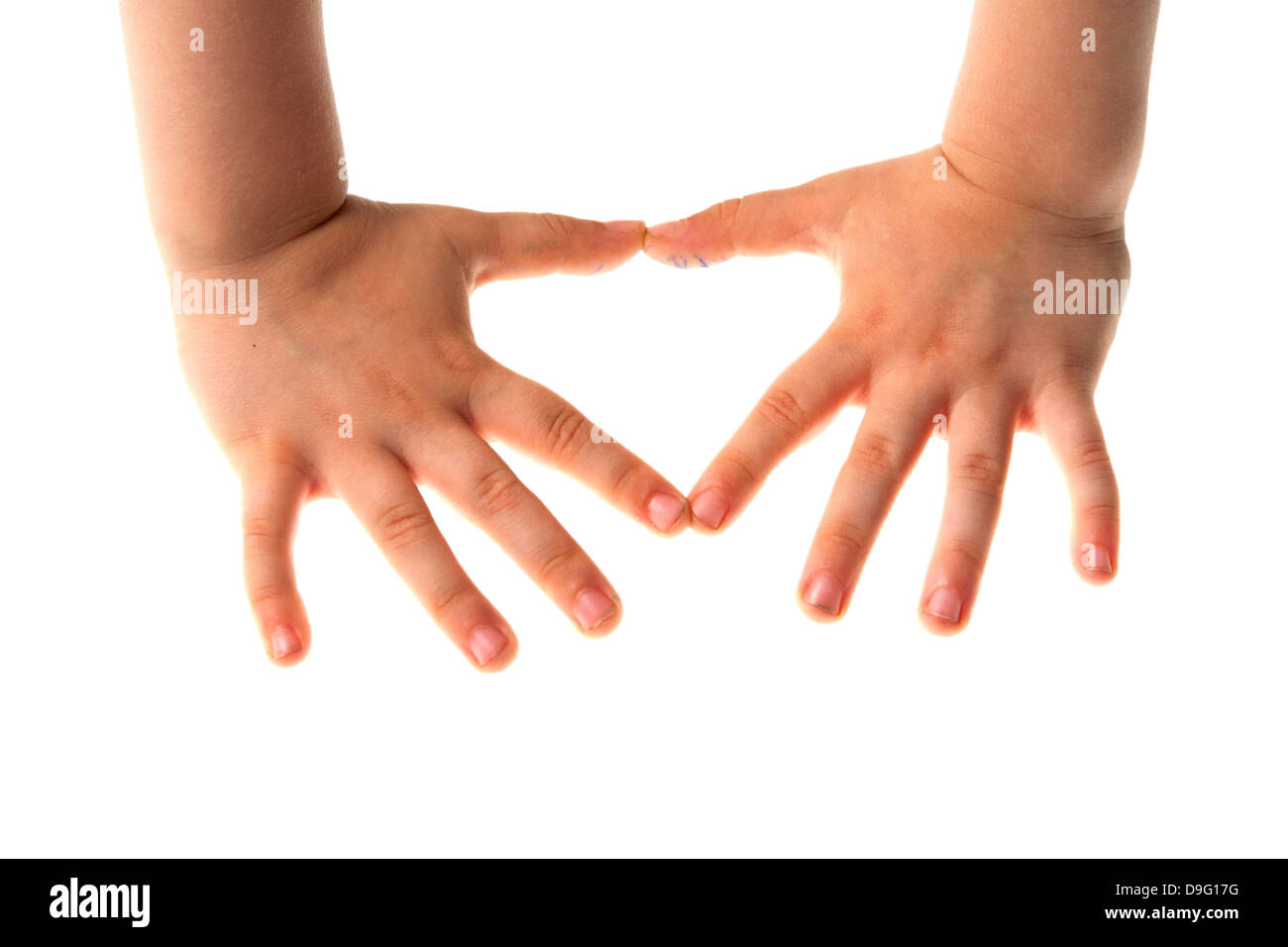 Four year old boy's hands - Stock Image