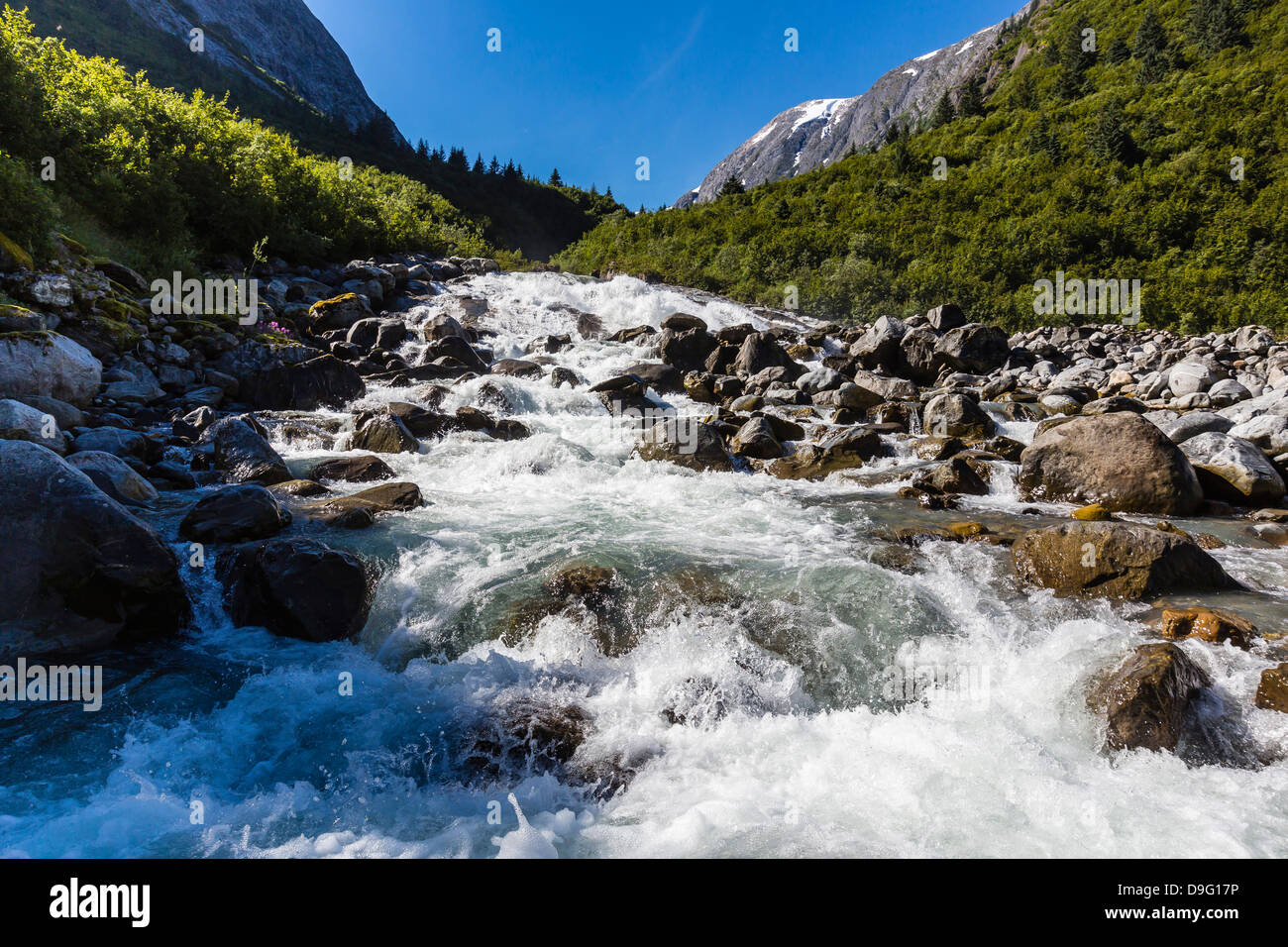 Snow-melt waterfall in Tracy Arm-Ford's Terror Wilderness area, Southeast Alaska, USA - Stock Image