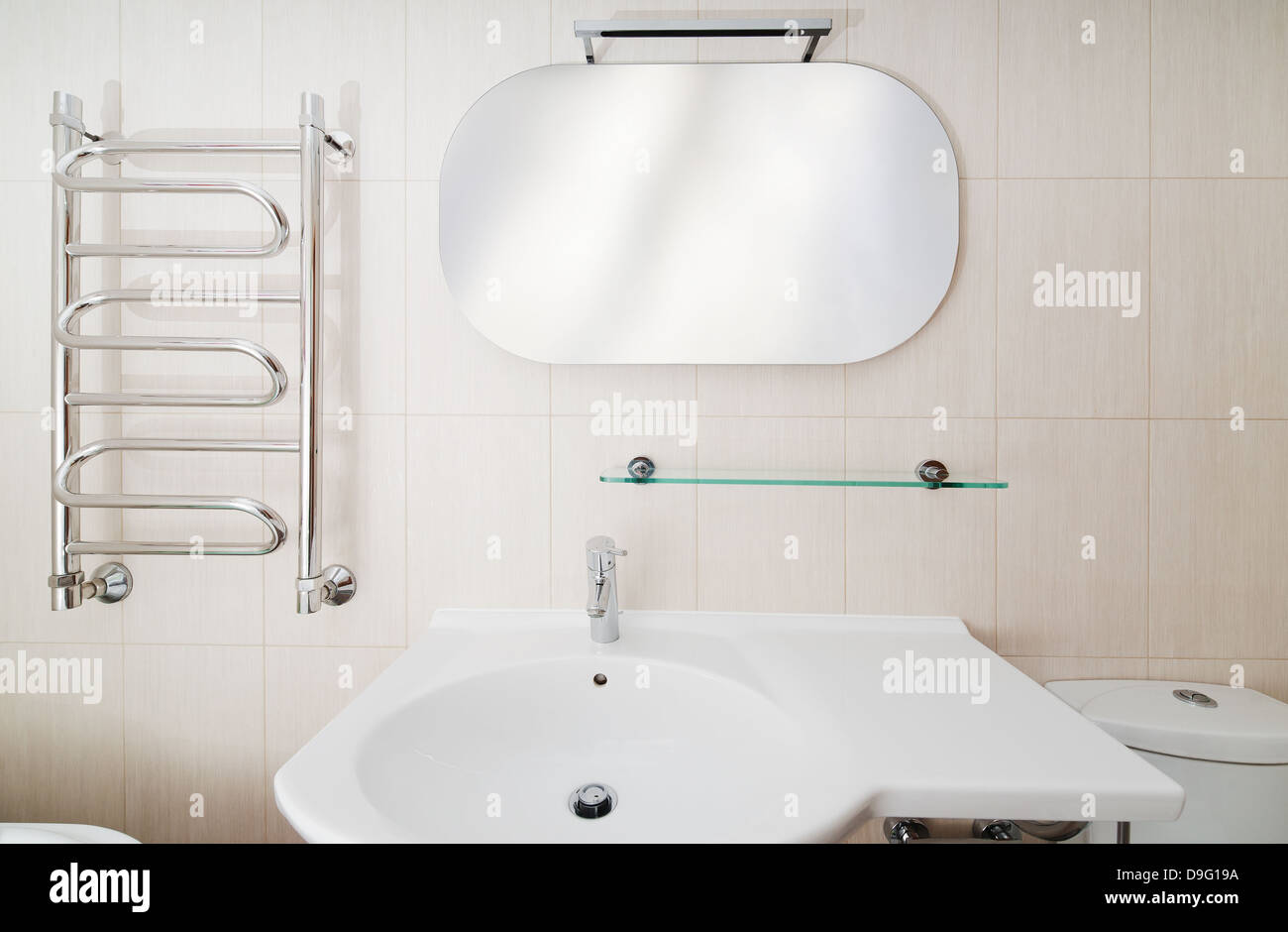 Modern bathroom interior with sinks and toilet, front view Stock ...