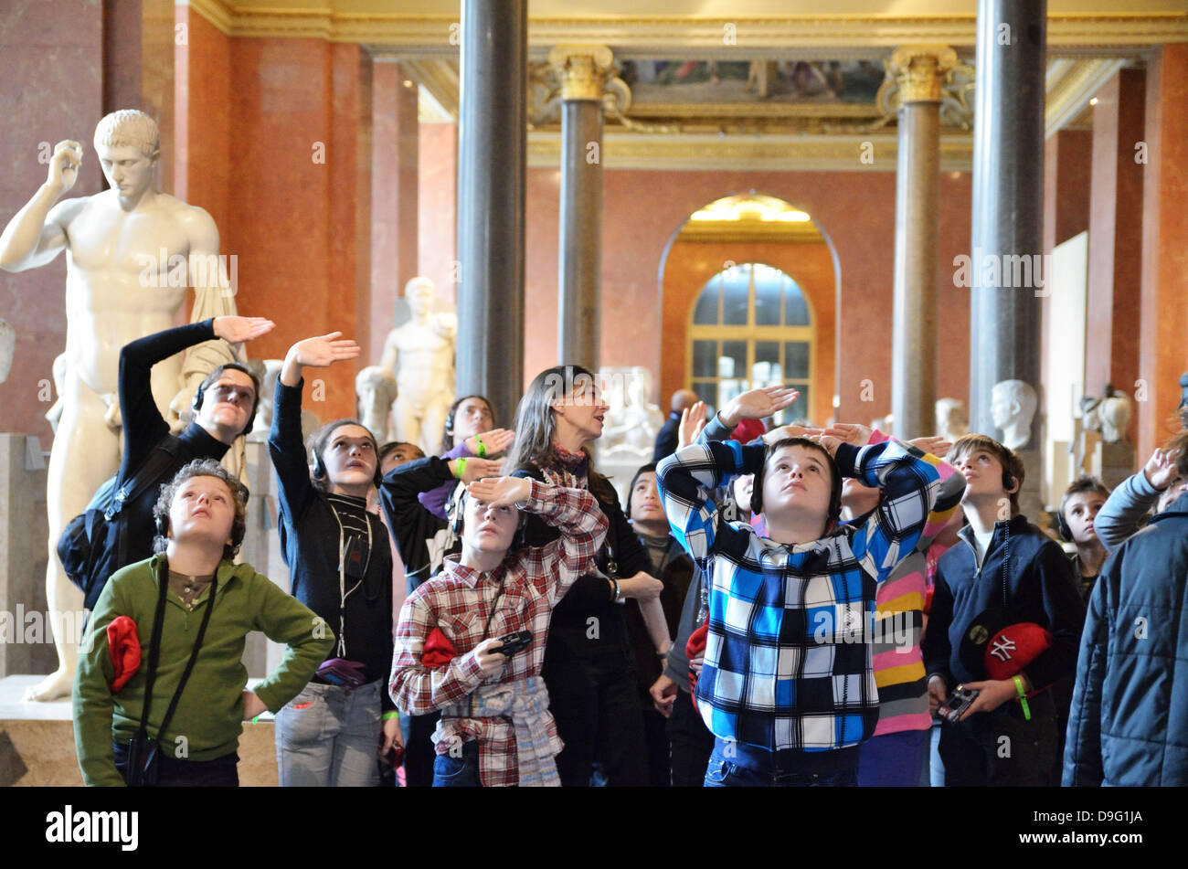 Children at The Louvre Museum in Paris, France - Jan 2012 - Stock Image