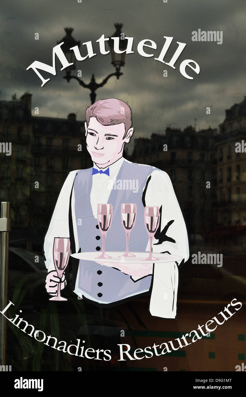 Window painting of waiter on cafe entrance, Paris, France - Jan 2012 Stock Photo