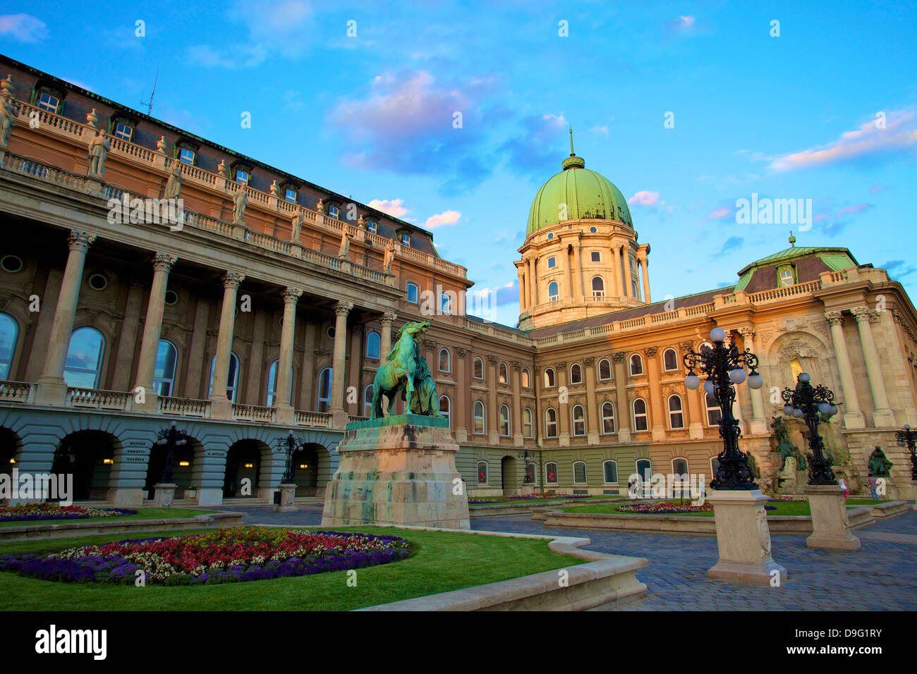 Buda Castle with statue of Horseherd, UNESCO World Heritage Site, Budapest, Hungary - Stock Image