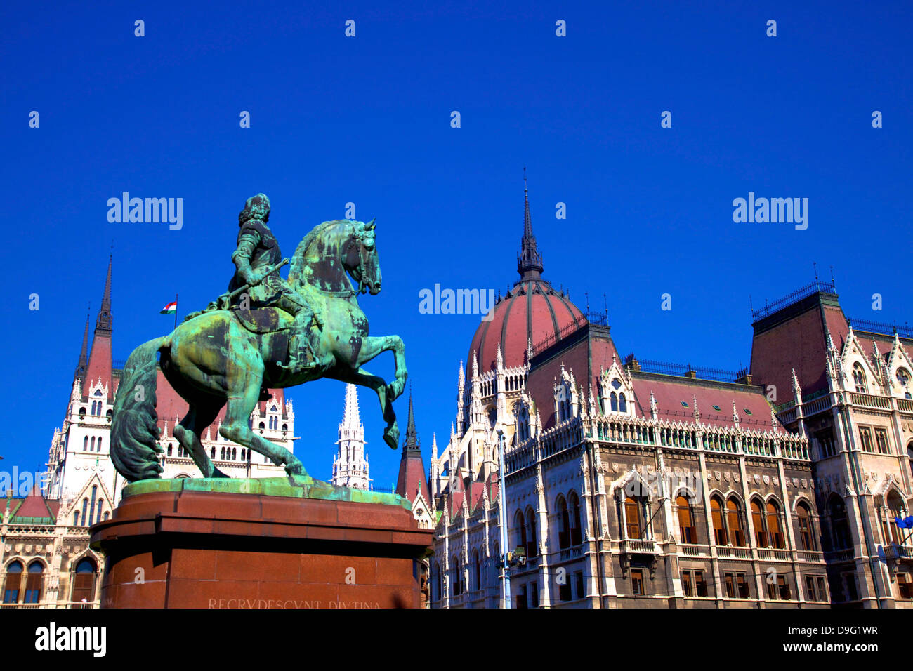 Equestrian Monument of Ferenc II Rakoczi, Prince of Transylvania, in front of Hungarian Parliament Building, Budapest, Stock Photo
