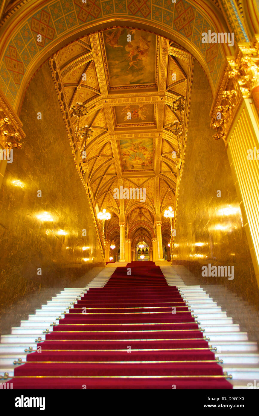 Grand Stairwell, Hungarian Parliament Building, Budapest, Hungary Stock Photo