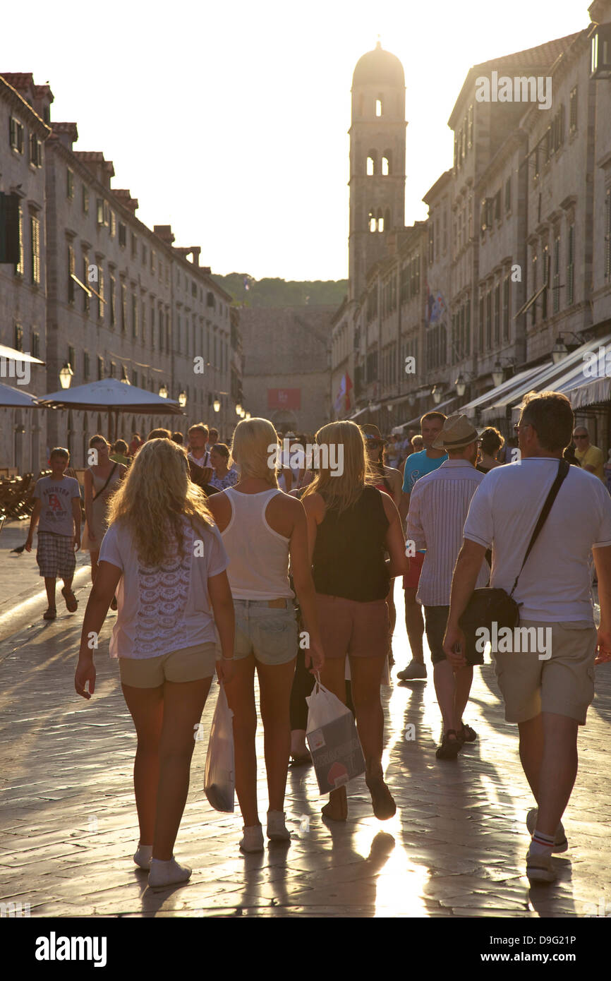 Stradun, Old City, UNESCO World Heritage Site, Dubrovnik, Croatia - Stock Image