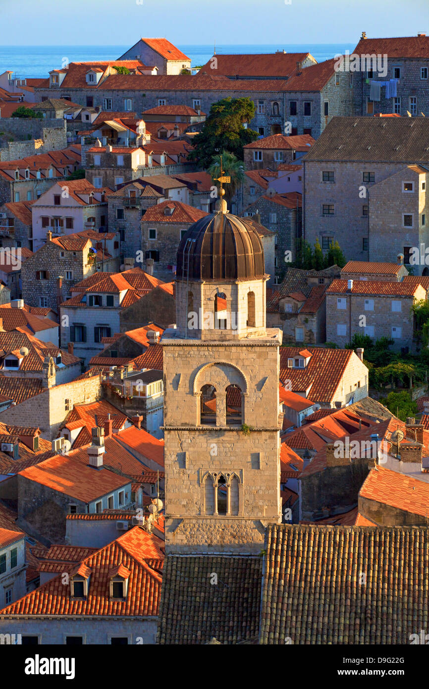 View over City with Franciscan Monastery, UNESCO World Heritage Site, Dubrovnik, Croatia - Stock Image