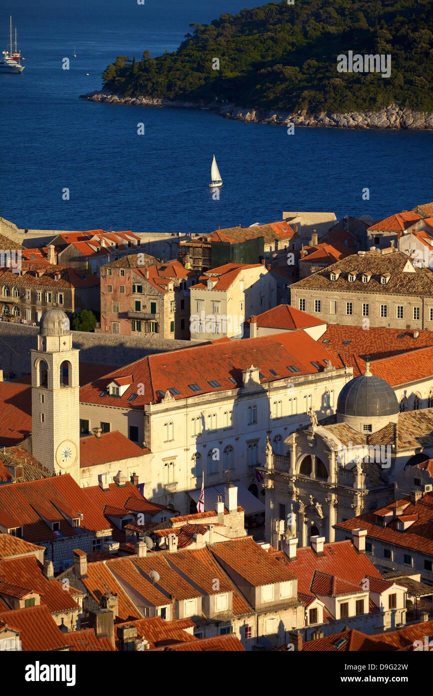 View over city, Dubrovnik, UNESCO World Heritage Site, Croatia - Stock Image