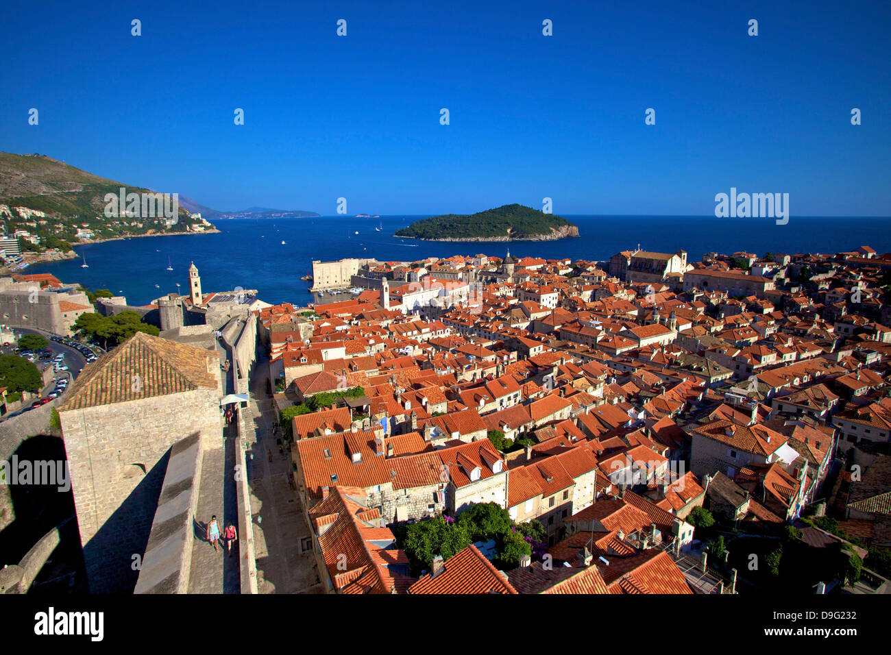 View over Old City including City Walls, UNESCO World Heritage Site, Dubrovnik, Croatia - Stock Image