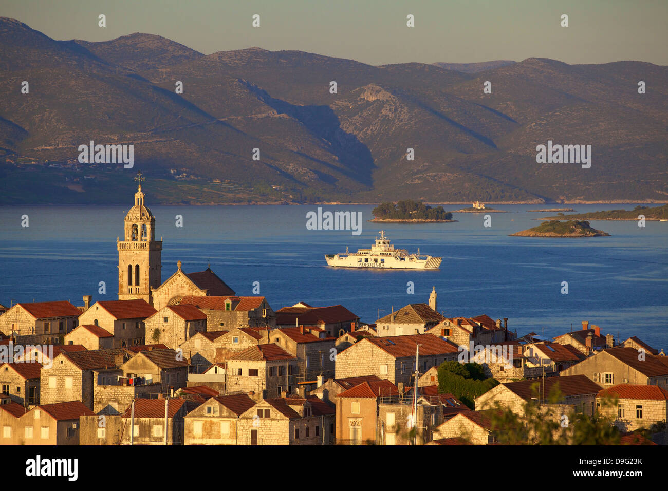 View over Korcula Town, Korcula, Dalmatian Coast, Croatia, - Stock Image