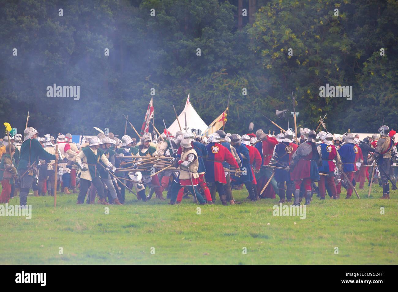 Battle of Bosworth Field Re-enactment, Market Bosworth, Leicestershire, England, UK - Stock Image