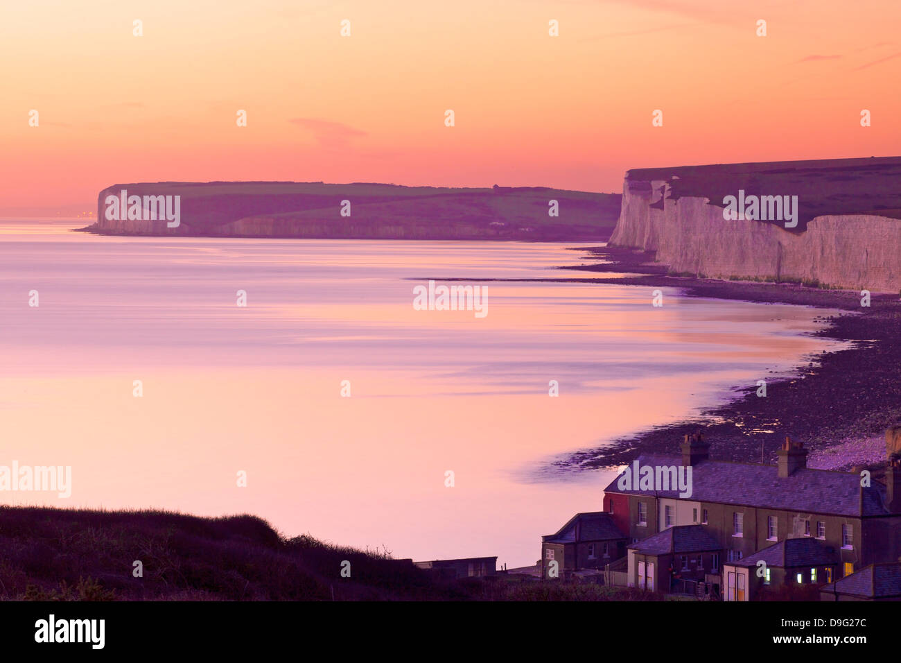 Seven Sisters from Birling Gap at sunset, South Downs National Park, East Sussex, England, UK Stock Photo