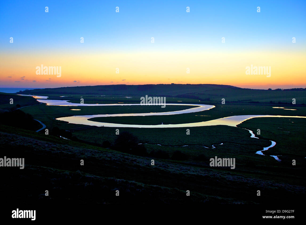 Cuckmere Haven at sunset, South Downs National Park, East Sussex, England, UK Stock Photo