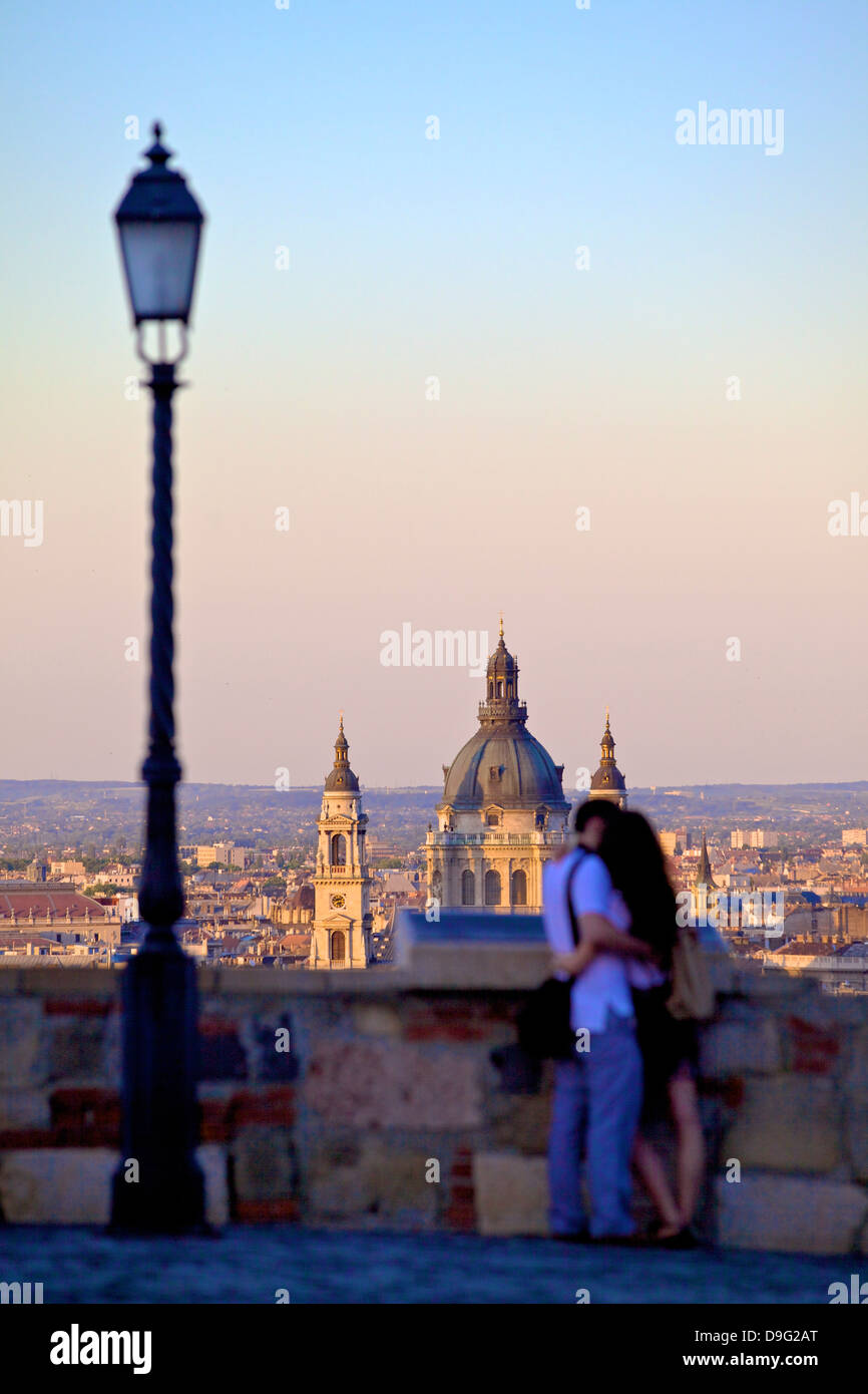 Couple looking at view over the city from Buda Castle, Budapest, Hungary - Stock Image
