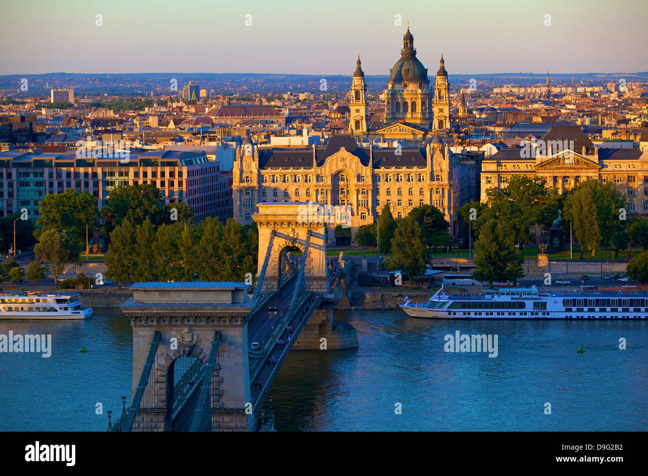 Budapest skyline and River Danube, UNESCO World Heritage Site, Budapest, Hungary - Stock Image