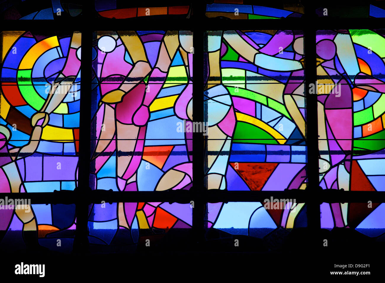 Stained glass window, Gellert Hotel and Spa, Budapest, Hungary - Stock Image