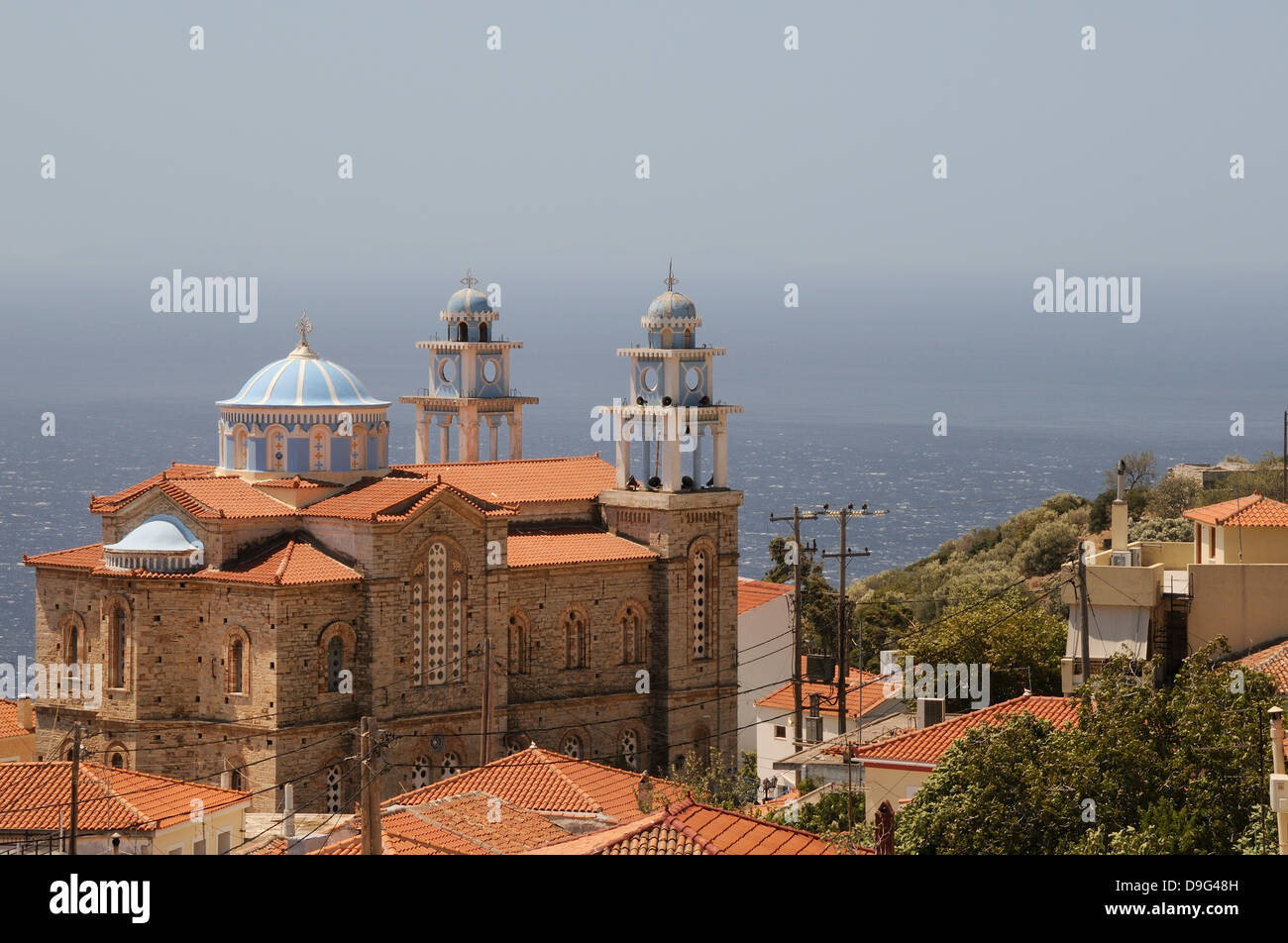 Overview of Marathokambos church with the Aegean Sea in the background, Samos, Eastern Sporades, Greek Islands, - Stock Image