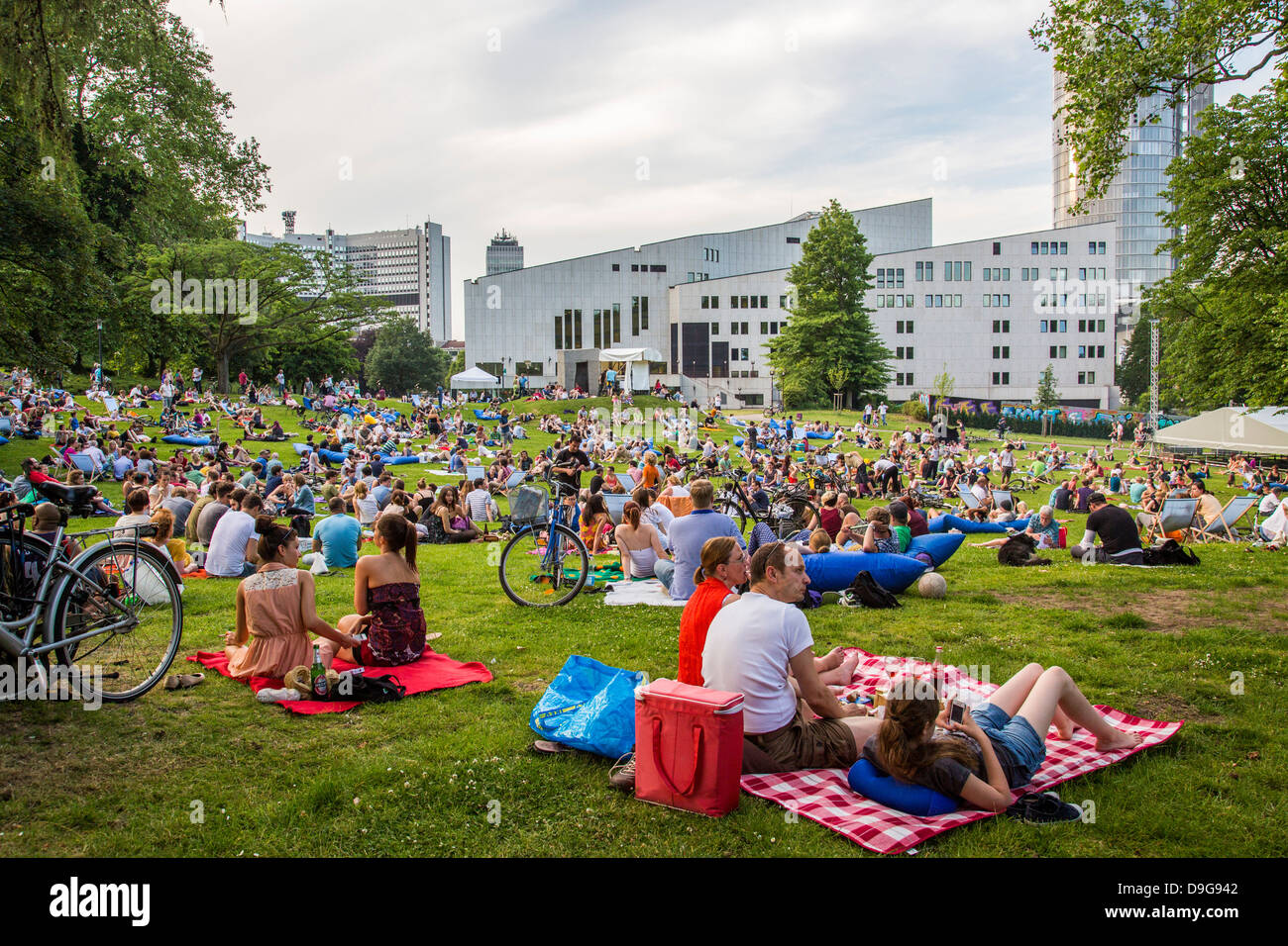 Electronic music festival in a public city park, summer festival in Essen, Germany. Picnic and electronic sound. - Stock Image