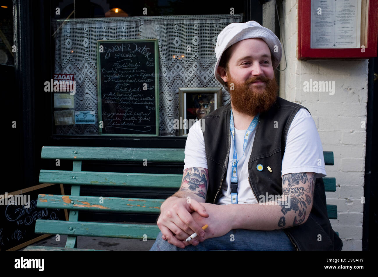 Hipster in Sweetwater Bar and Grill, Williamsburg, Brooklyn, New