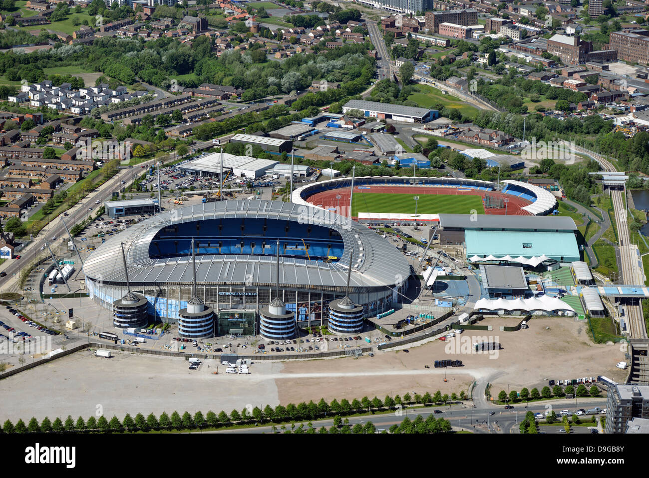 Aerial photograph of Manchester City Football Club - Stock Image