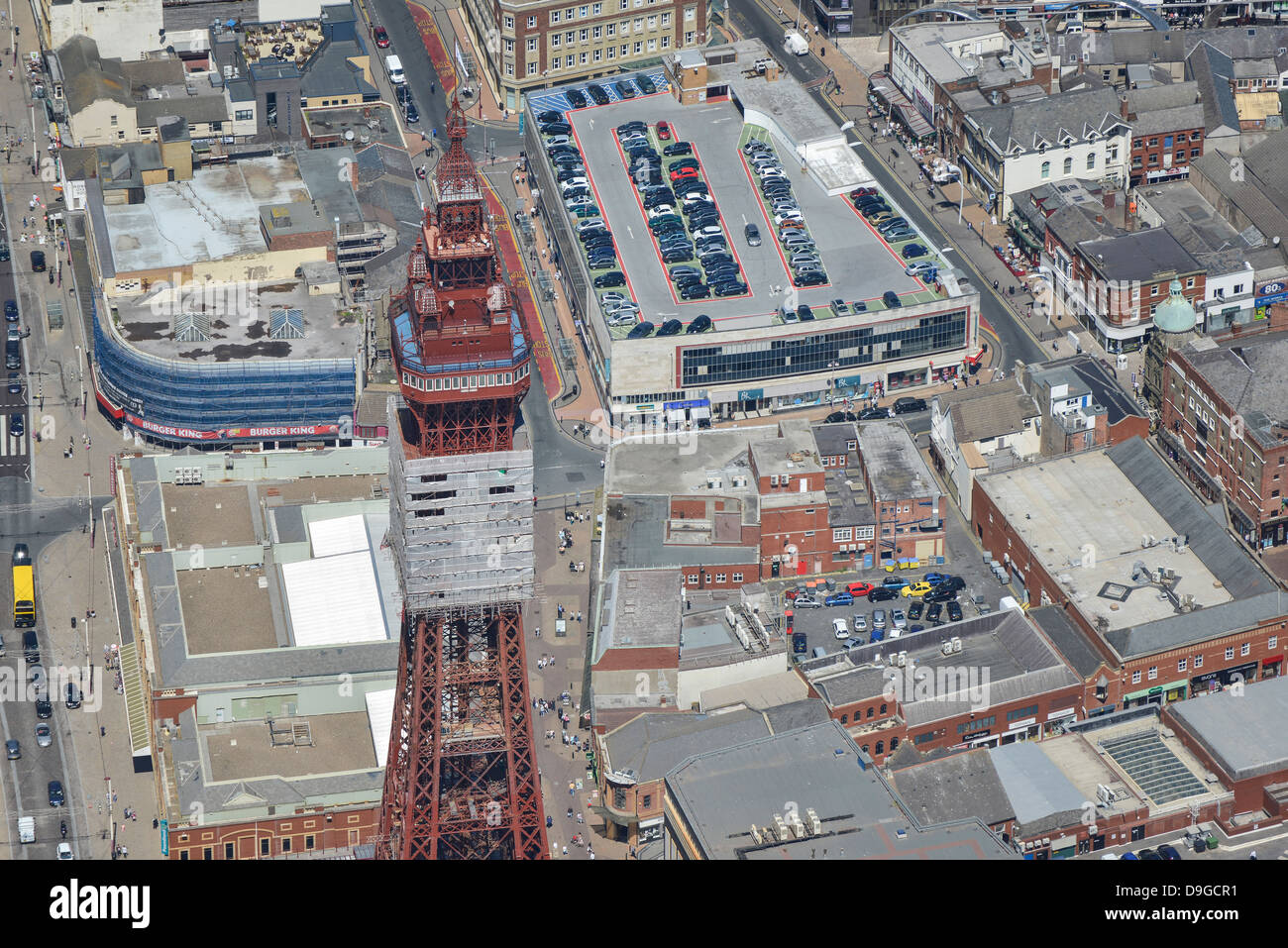Aerial photograph of Blackpool Tower and Hounds Hill Shopping Centre - Stock Image