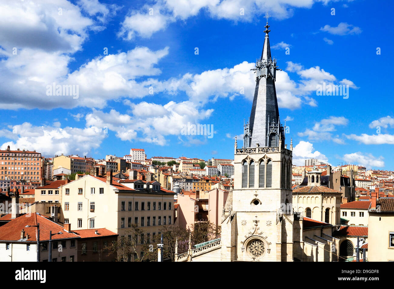 skyline and view of Lyon city, Rhone-alpes, France Stock Photo