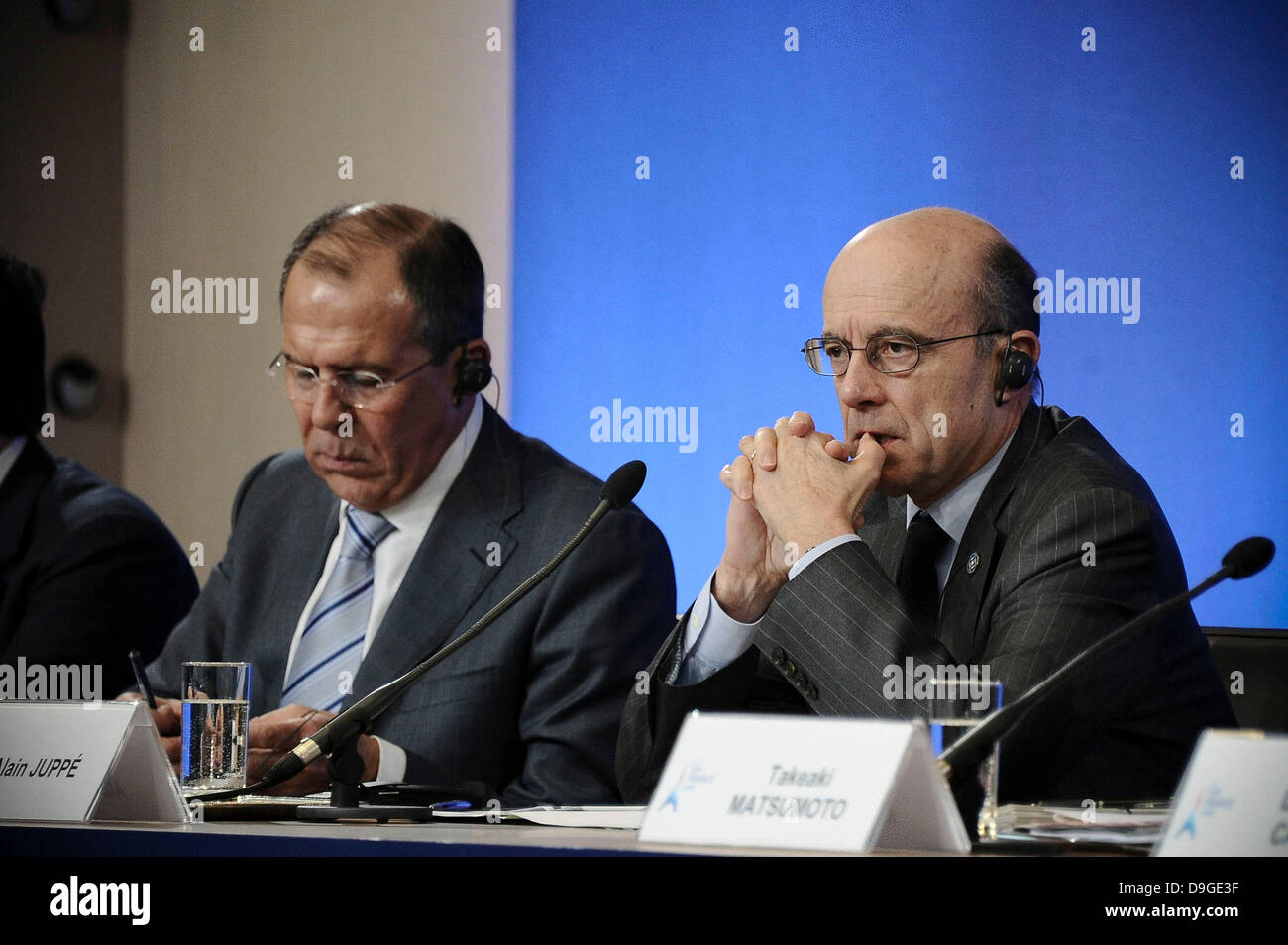 G8 Foreign Ministers Russian Sergei Lavrov, French Alain Juppe  during a joint press conference on March 15, 2011 - Stock Image