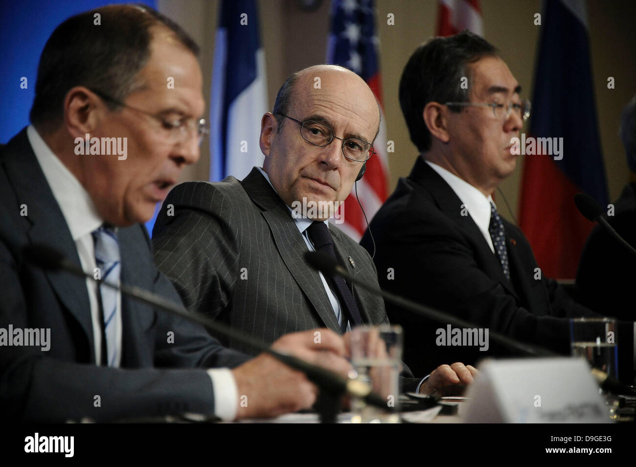 G8 Foreign Ministers, Russian Sergei Lavrov, French Alain Juppe, Japanese Takeaki Matsumoto  during a joint press - Stock Image